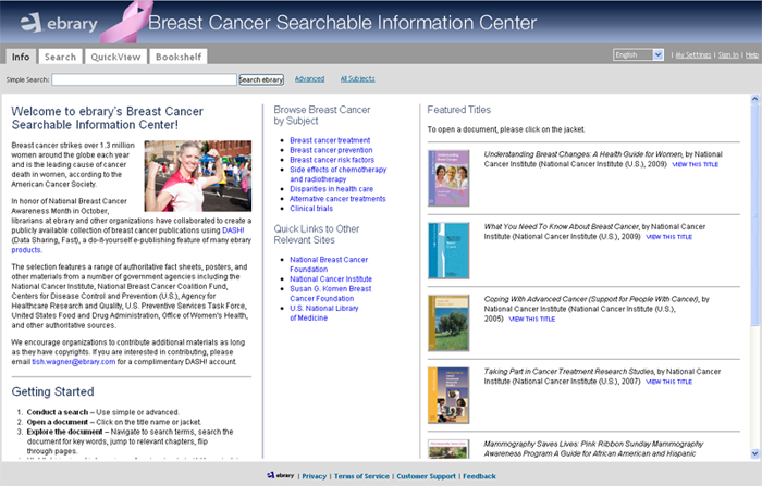 Breast Cancer Searchable Information Center