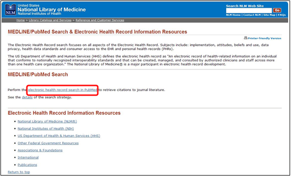 Electronic Health Records page